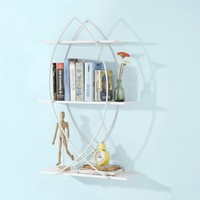 SoBuy FRG192 W, 3 Tiers Wall Book Shelf in Fish Design, Wall Storage Display Shelf, White