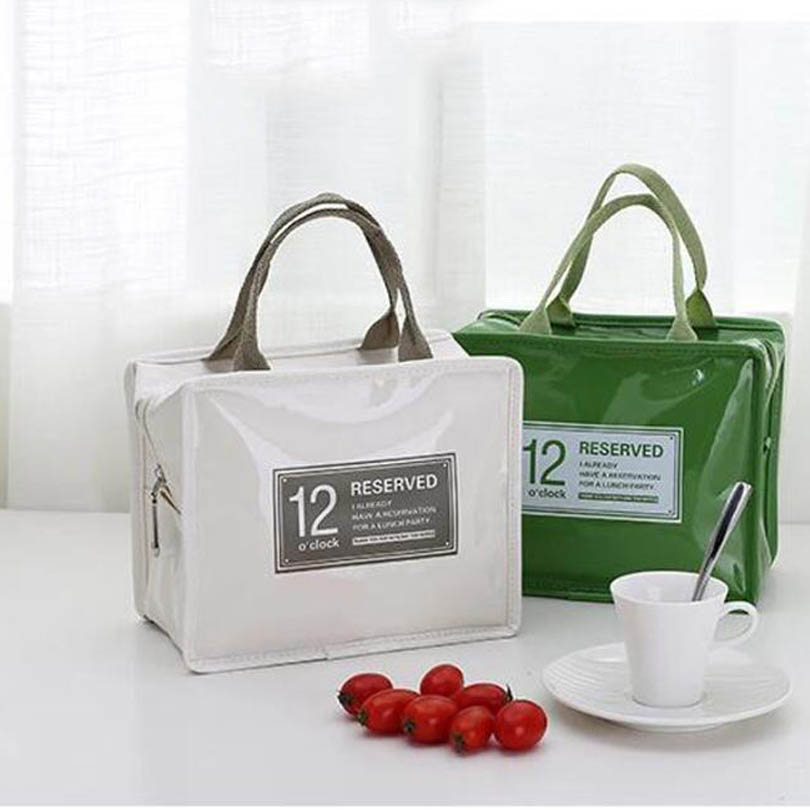 2019 Waterproof Lunch Bag For Women Kids Men Cooler Lunch Box Bag Letter Tote PU Lunch Bags Insulation Package Portable
