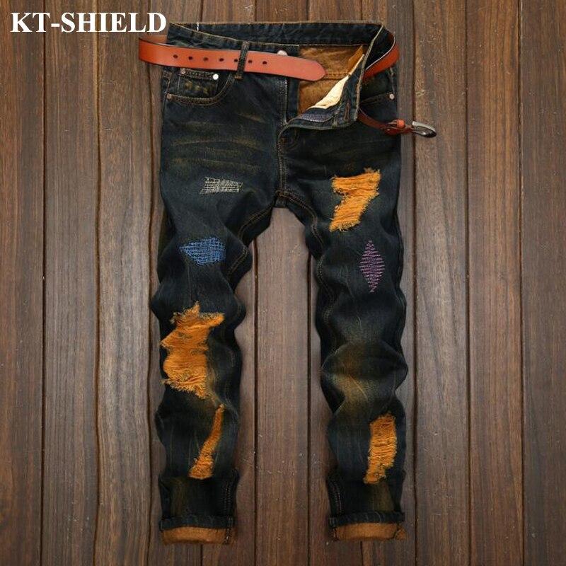New Ripped Jeans Men Black Vintage Denim Trousers Men Vaqueros Hombre Casual Designer Hip Hop Male
