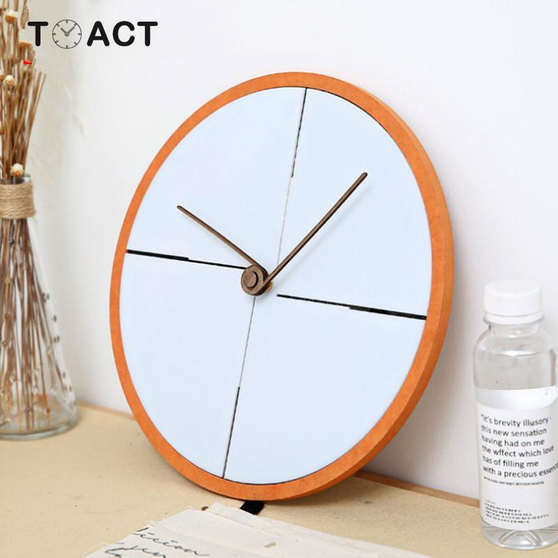Nordique salon horloge murale décoration créative en bois muet horloges rétro mur montre Simple bois suspendus montres