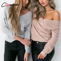 Conmoto Off Shoulder Solid V Neck Sweater Batwing Long Sleeve Autumn Winter Sweater Casual Sexy Femme Jumper