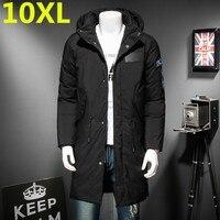 Большие размеры 10XL 9XL 8XL высокого качества Повседневное Для мужчин зимнее пальто теплая куртка средней длины утолщение ветрозащитное пальт