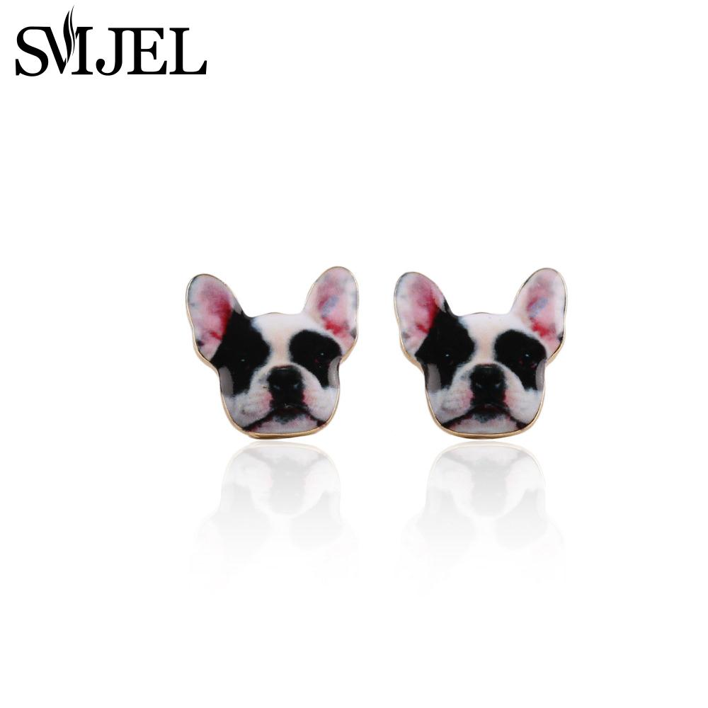 SMJEL Boxer Post Dog Stud Earrings in Enamel Animal Pet Jewelry for Women Love Gifts OED069