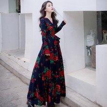 2017 Весна Осень Элегантный Корея Дамы Одежда Женщины Урожай V шеи цветочным принтом dress высокой талией ретро длинным рукавом макси dress