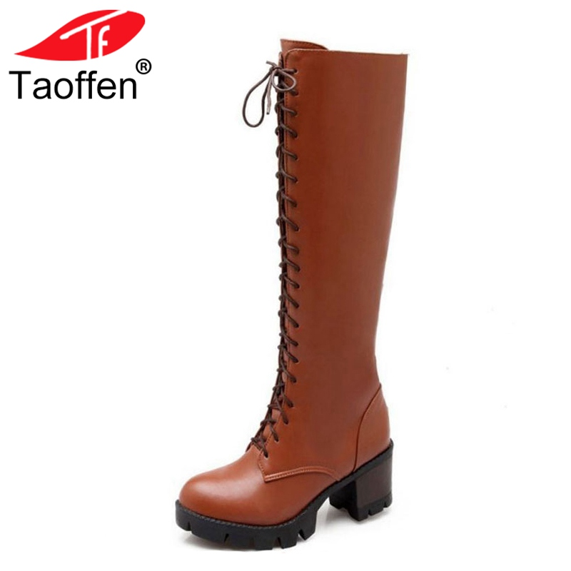 Taoffen Size 34-43 Women High Heel Boots Round Toe Fur Warm Lace Up Zipper Motorcycle Boots Winter Knee Boots Women Footwear брюки adl adl ad005ewamkj3