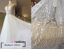 Top White French African Lace Fabric for Wedding dress Embroidery sequins flowers fabric fish tail Slim white