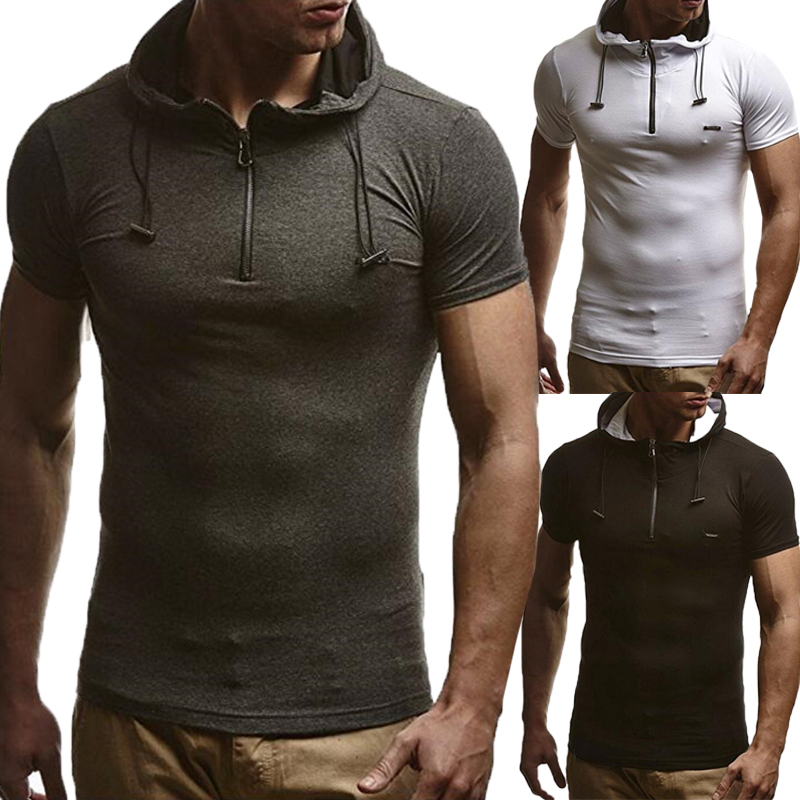 PODOM Casual T Shirts Men Hooded Short Sleeve Summer 2018 Fashion Slim Streetwear workout Tops Muscle Tee Tops Hombre 3XL