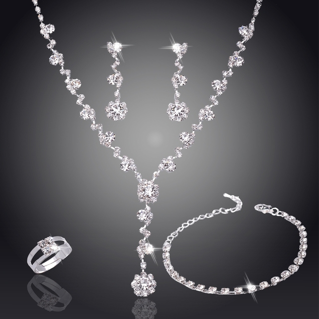 Bridal Bridesmaid African rings and bracelet Jewelry Sets Silver Tone Crystal Te