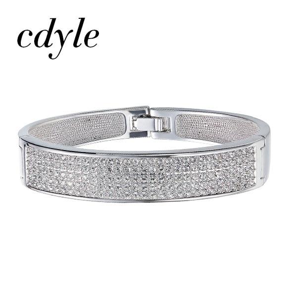 Cdyle Crystals from Swarovski Austrian Rhinestone Paved Bijoux Women Bracelets Bangles Engagement Wedding Fashion Jewelry Gift