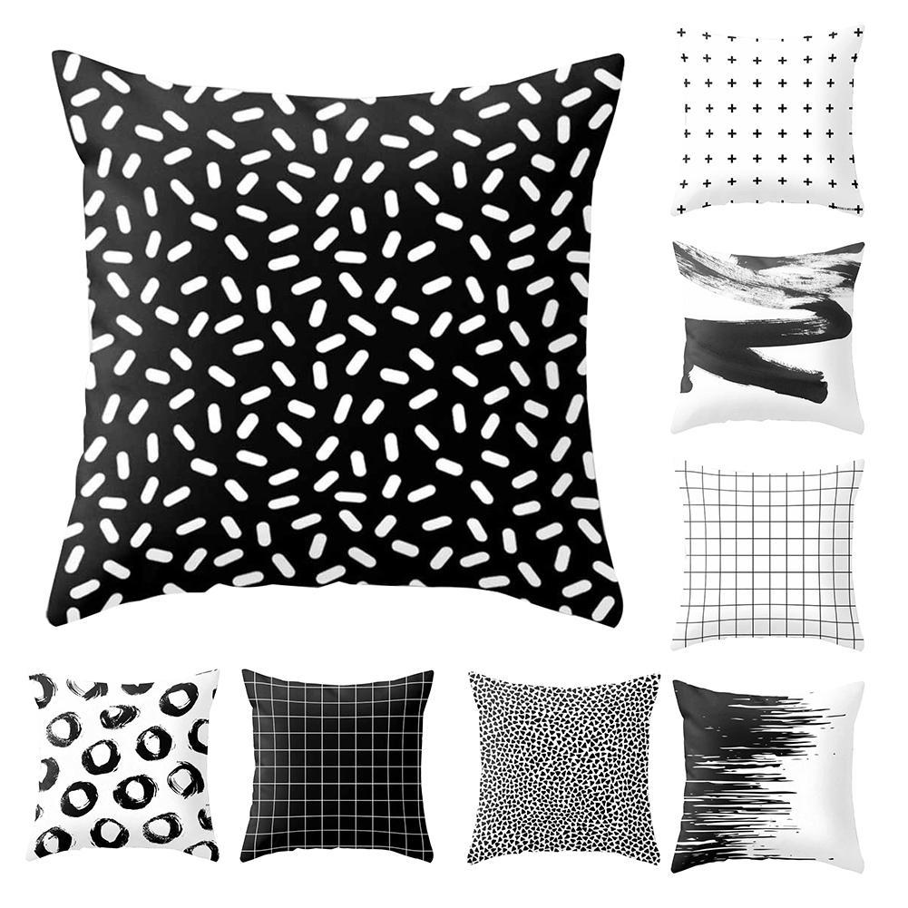 Modern Black And White Geometric Print Cushion Cover Sofa