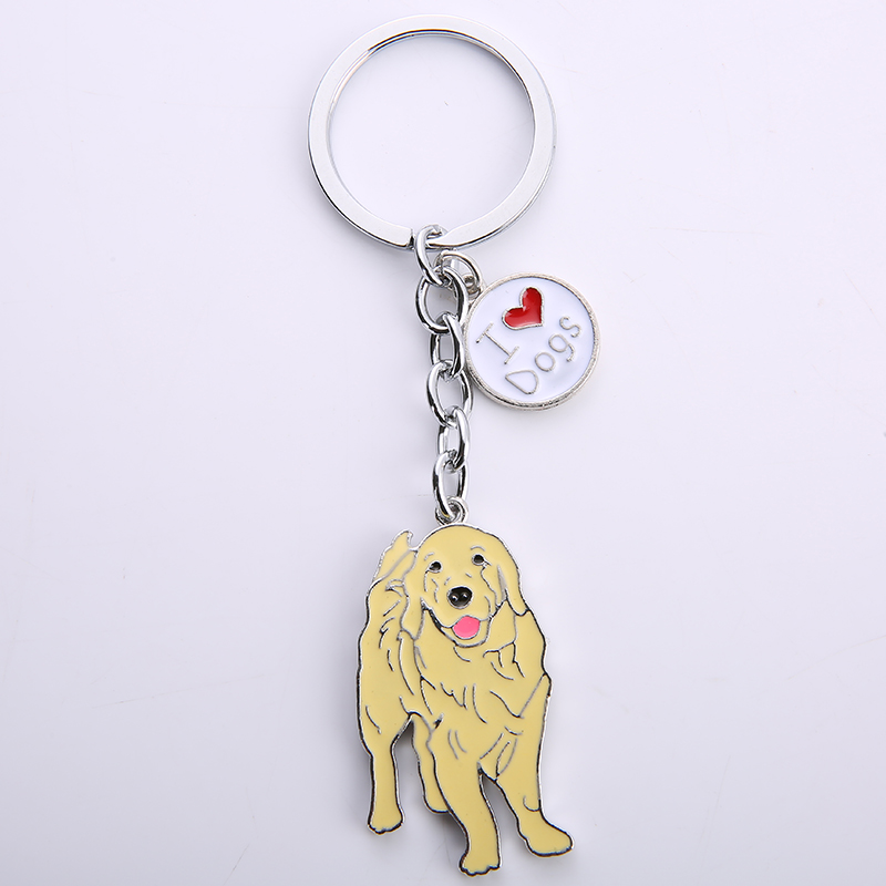 Golden Retriever Pendant Key Chains For Women Men Silver Color Metal Alloy Pet Dog Bag Charm Car Keychain Key Ring Holder Gift