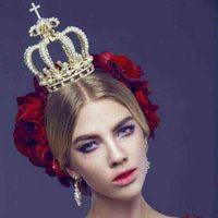 Oro Barroco de la vendimia de Plata Simulado Grande de La Perla Real Reina Coronas Tiara Nupcial Pelo de La Boda Accesorios de La Joyería Para Las Mujeres Novia