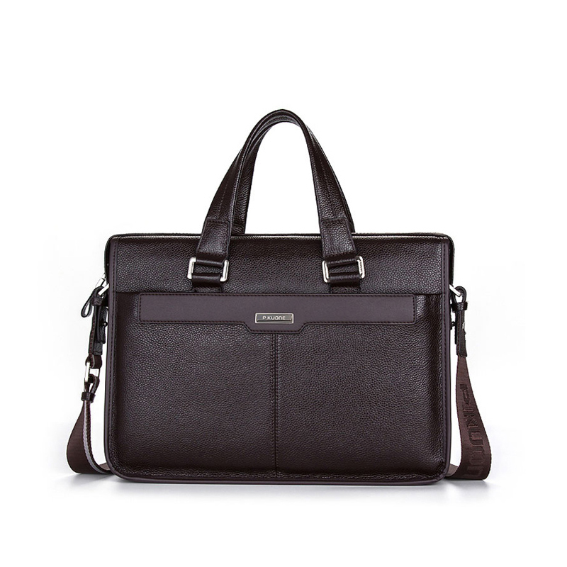 купить 100% GENUINE LEATHER cowhide Shoulder leisure men's bag business messenger portable briefcase Laptop 14