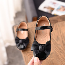 New Childrens Bow Leather Shoes Little Girls Kids Dress Party Wedding S