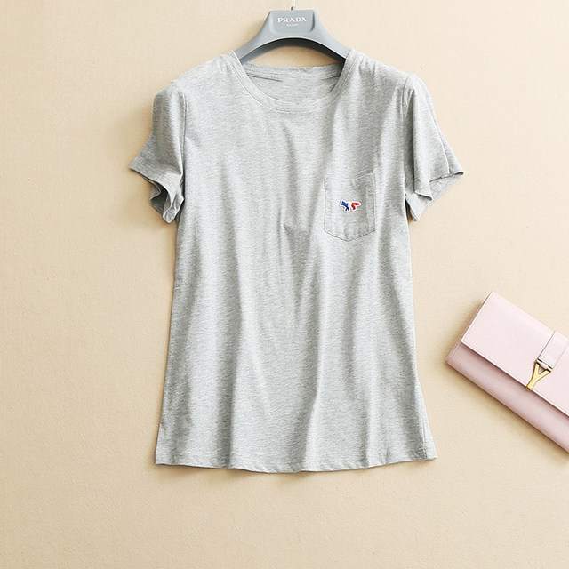 Casual Fox Embroidery Womens Tops 2017 Spring Summer 100% Cotton Short Sleeve T Short New Tee Femme 2016