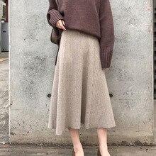 2019 חורף נשים Midi חצאיות קוריאני מקרית גבירותיי אונליין התלקחות גבוהות מותניים מוצק סרוג לסרוג עבה ארוך סוודר חצאית נשים