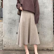 2019 Winter Women Midi Skirts Korean Casual Ladies A line Flare High Waist Solid Knitted Knit Thick Long Sweater Skirt Women