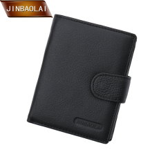 JINBAOLAI New Slim Genuine Leather Men's Wallet Man Cowhide Trifold Wallets With Coin Pocket Card Holder Hasp purse for men new men wallets famous brand genuine leather wallet hasp design wallets with coin pocket purse card holder for men carteira