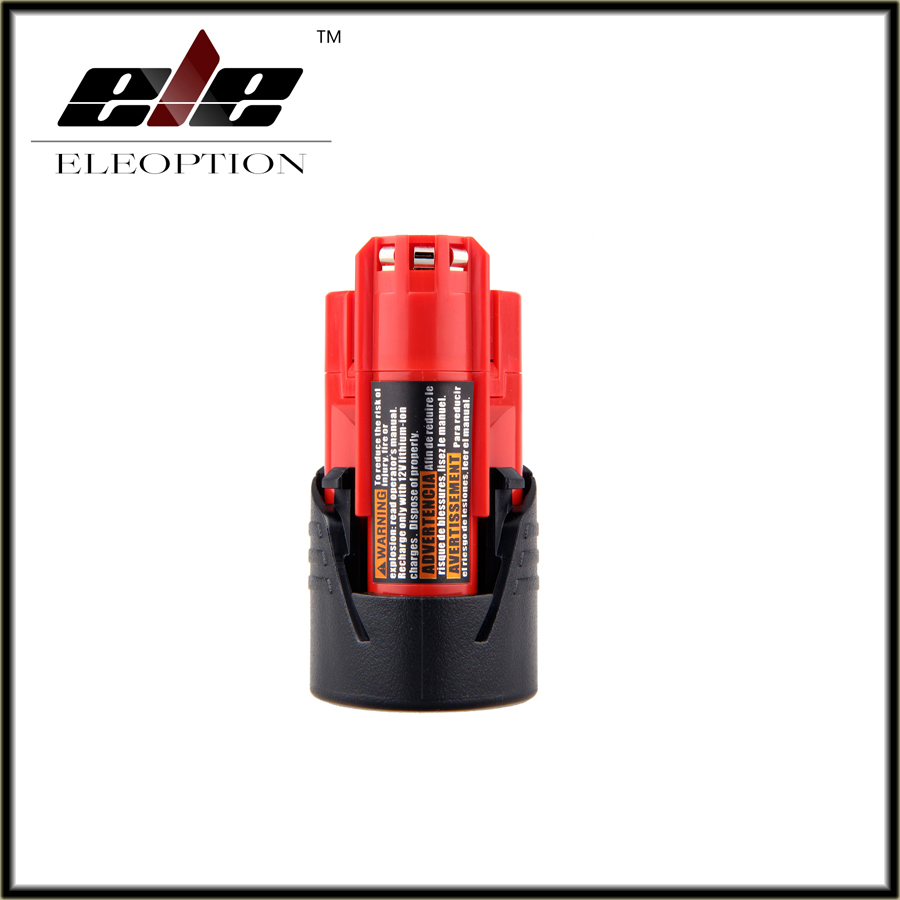 eleoption power tool battery for milwaukee m12 12v 1500mah li ion lithium rechargeable spare