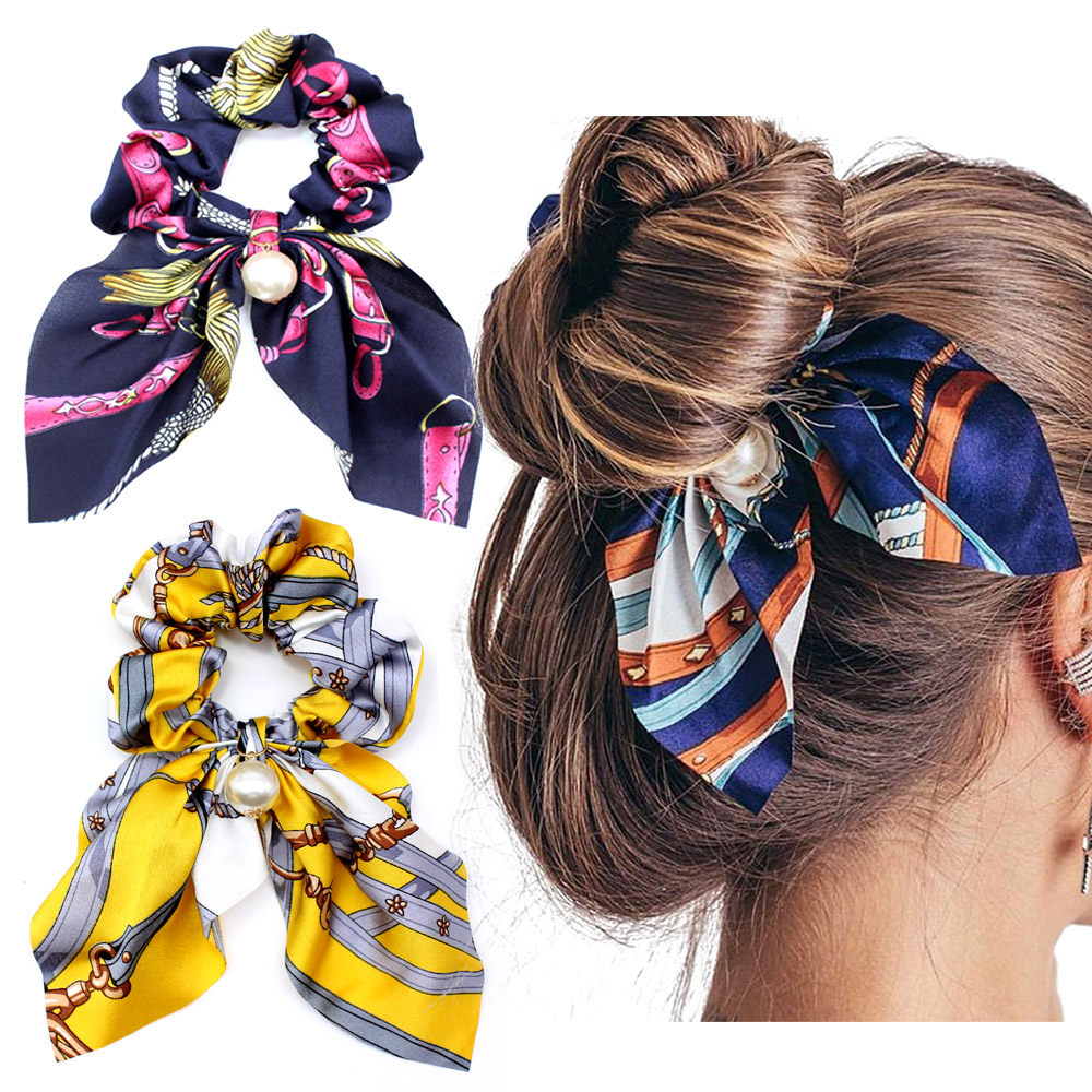 New Chiffon Bowknot Silk Hair Scrunchies Women Pearl Ponytail Holder Hair Tie Hair Rope Rubber Bands Hair Accessories   Headwear