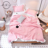 3pcs Bedding Set Solid Air Condition Summer Quilt with Pillowcases Soft Comforter Blanket Patchwork Bed Cover Bedspread colcha