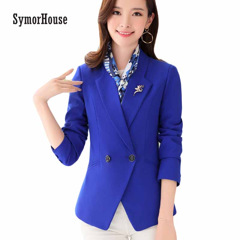 SymorHouse Women Blazer Ladies Blazer Feminino 2018 Spring Long Sleeve Suit Blazer Short Blaser Femme Office Suit Jackets