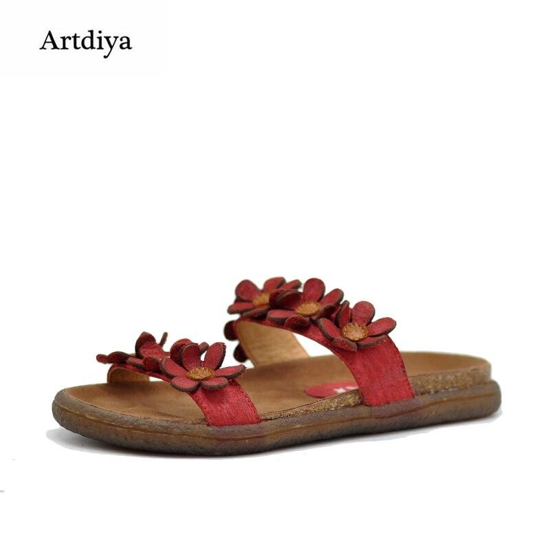 Artdiya Original New Summer Outside Wear Flower Sandals Comfortable Genuine Leather Handmade Sweet Women Slippers 8251 2018 new high end leather comfortable feet sandals classic sandals handmade leather slippers handmade leather slippers