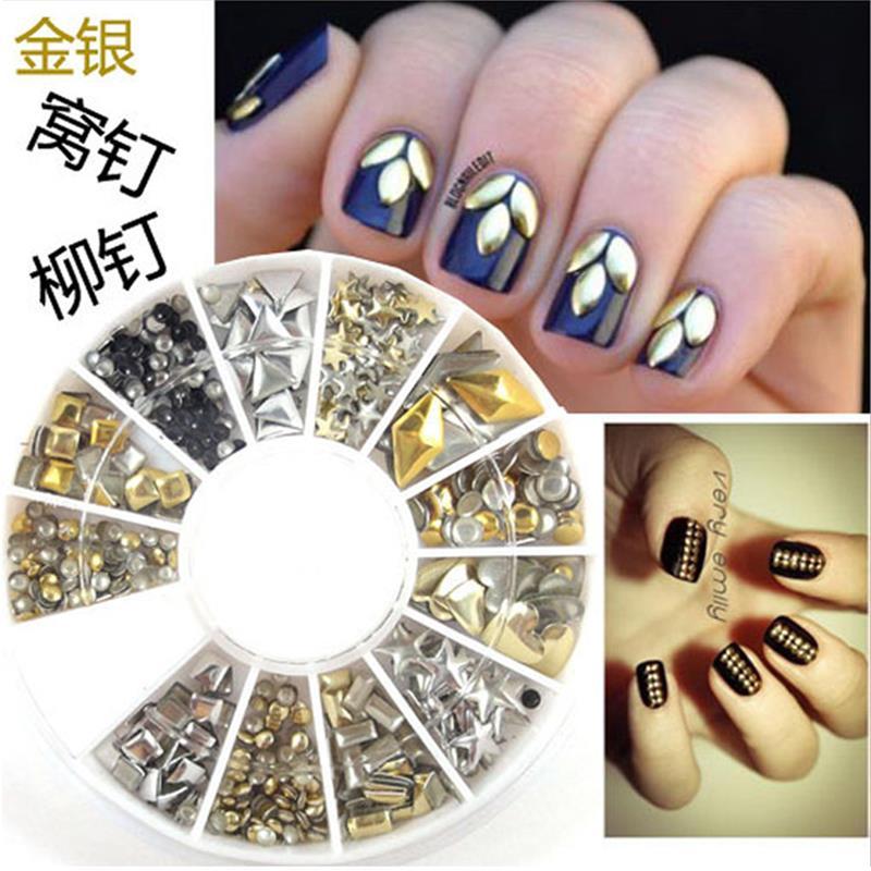 DIY 3D Metal Gold Silver Nail Art Studs Rivets Punk Wheel Design Stickers Square Decoration mini caviar metal beads 10g gold silver nickel nail art charm fashion pearl steel ball nail art diy decorations