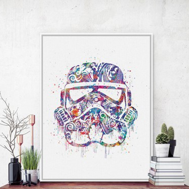 Acuarela original casco máscara Darth Vader pop película cartel de ...