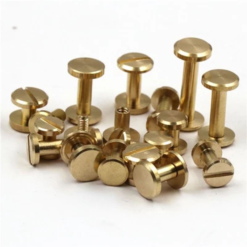 10pcs Pure copper pushpin Belt nail <font><b>turnbuckle</b></font> Luggage hardware accessories nails Belts screw One word screws bolt rivet image