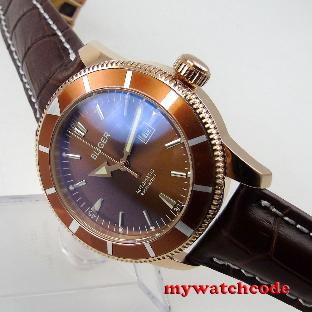 46mm bliger brown dial luminous marks date window automatic mens watch P97