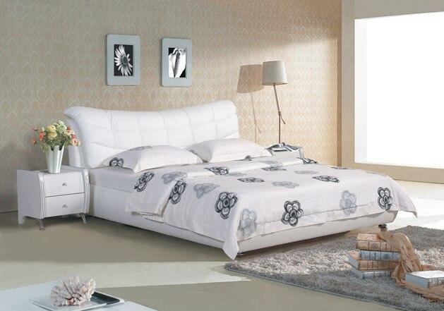 A cuadros blanco contemporáneo moderno cama de cuero muebles de ...