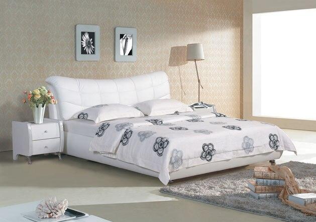 US $462.0 |Plaid bianco moderno letto King size mobili camera da letto in  pelle moderno Made in China in Plaid bianco moderno letto King size mobili  ...