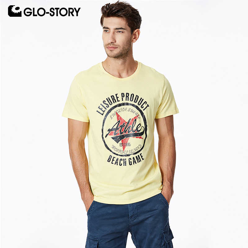 GLO-STORY 2019 New Arrivals Men's Summer Leeter Star Print T-Shirts Short Sleeve Tee Jersey Top for Male MPO-8664