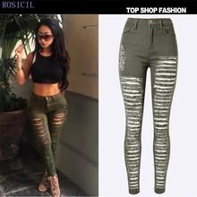 ROSICIL Fashion Pants Jeans Women Hole Stretch Cotton Ripped Jeans Skinny Denim Trousers TSL063#