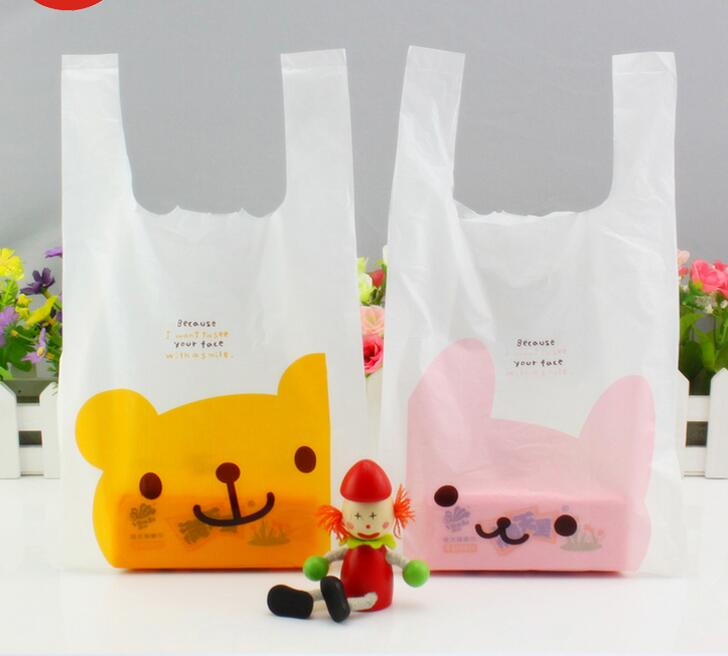 6 Size Cute Pink Bunny Yellow Winnie Maga Plaid Plastic Bag With Handle For Jewelry Carry Vest 100pcs Lot In Gift Bags Wring