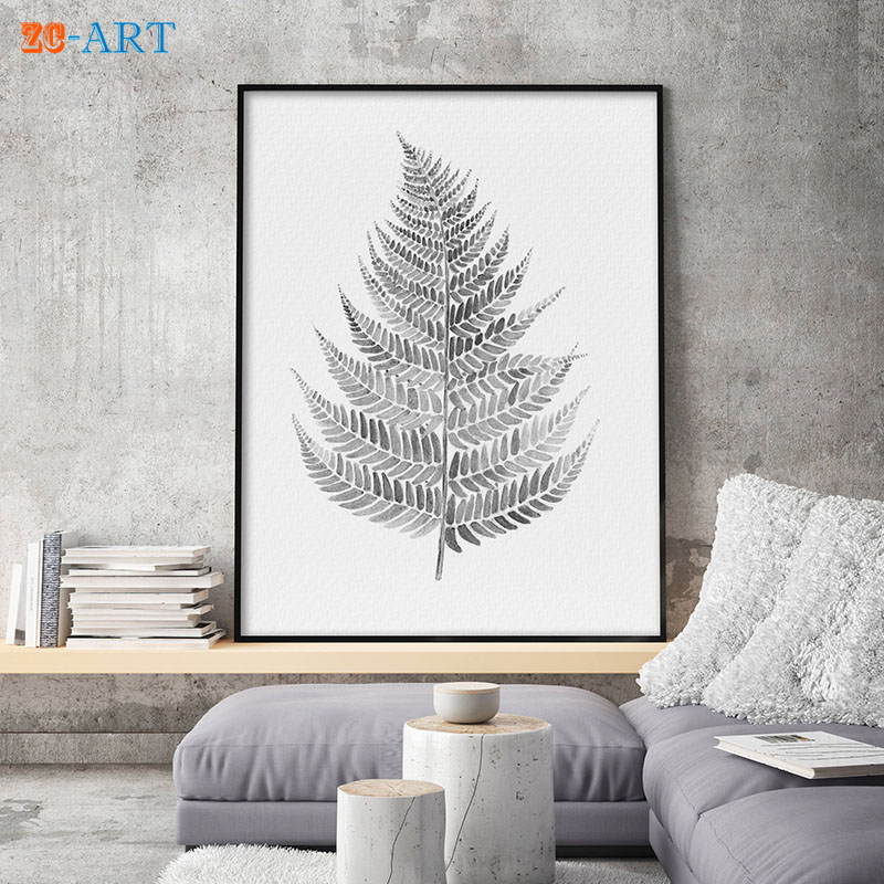 ᐅEspejos enmarcados gris minimalista helecho acuarela pintura ...