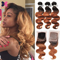 Peerless Virgin Hair Body Wave With Closure Blonde Ombre Malaysian Hair With Closure Wet And Wavy Human Hair Ombre Lace Closure