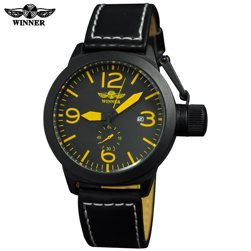 BIG CROWN watches men luxury brand sports military automatic mechanical Rattrapante wristwatches leather strap relogio masculino