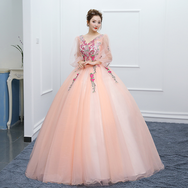 d856ff8909504 Robe Banquet Longues Bal Dame blanc Parti Rose Nouveau De Fille Princesse  Rose Manches À ...