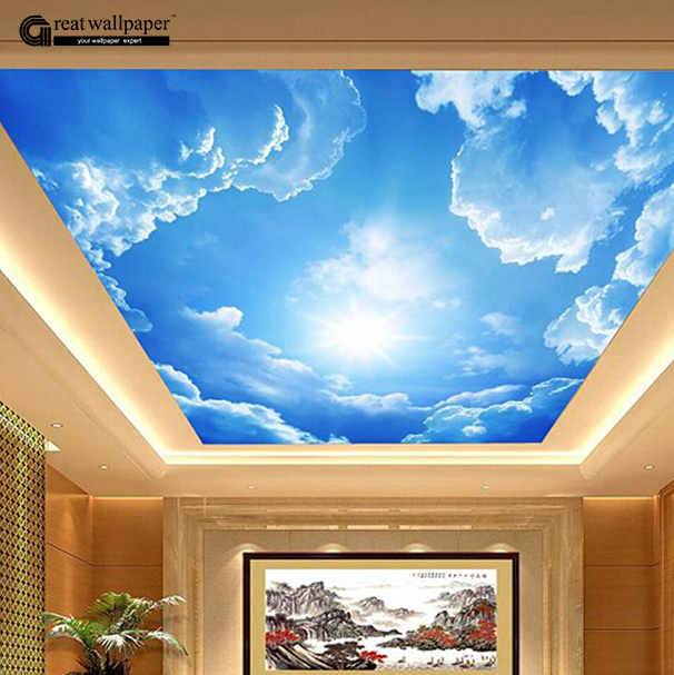 Large Hotel Lobby Ceiling Mural Wallpaper Bedroom Living Room Painting Roofs White Clouds In Blue Sky Wall Paper