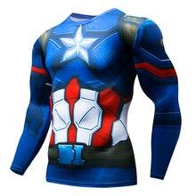 Marvel Mens Super Hero Captain Spider-Man Superman Batman Iron Man Long Sleeve T-Shirt 3D Clothing Compression Shirt MMA