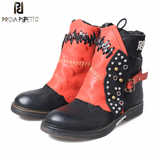 Prova Perfetto Genuine Leather Short Boots Women Retro Style Rivet Mixed Color Knight Shoes Low Heel Casual Women's Ankle Boots