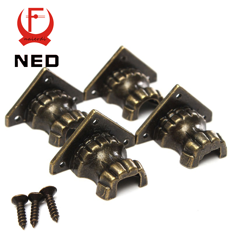 NED 8pcs Antique Brass Jewelry Chest Wood Box Decorative Feet Leg Corner Protector For Furniture Cabinet Protect Hardware hamlet ned r