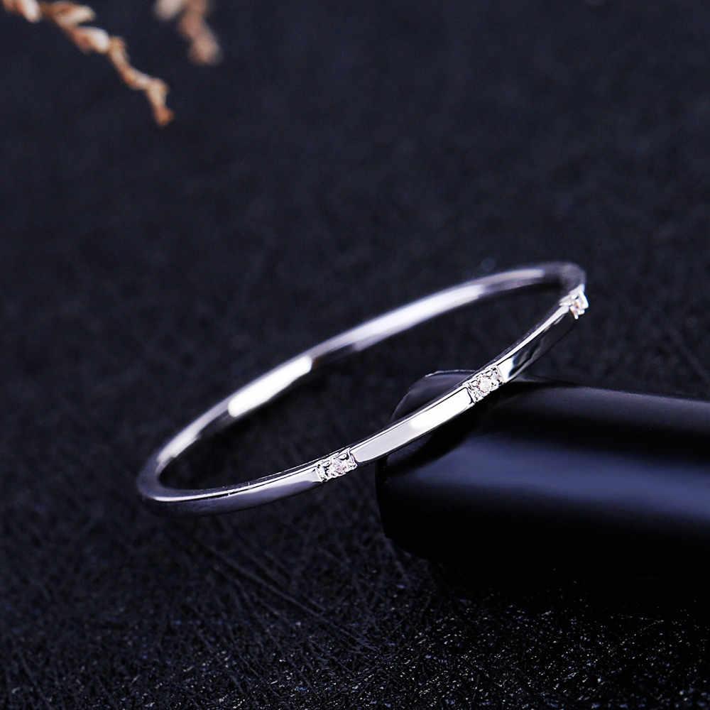 MIGGA délicate mince Style trois Mini Zircon cubique bague mode femmes doigt bijoux or Rose couleur anneau