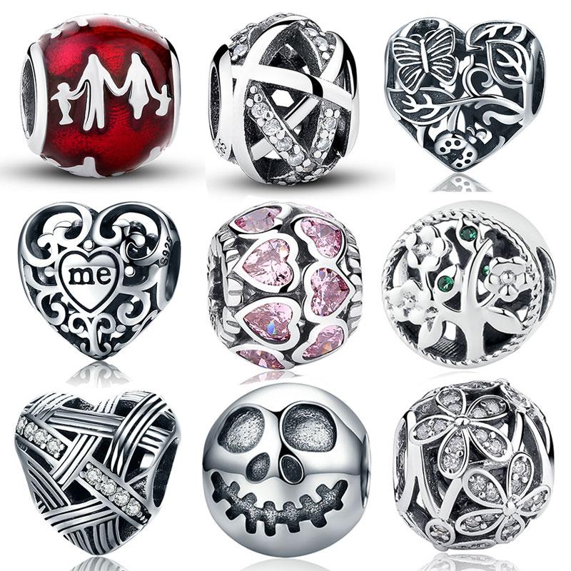 Srebro 925 Sterling Silver Ljubav Sve oko CZ perle Fit Charms Srebrna - Modni nakit - Foto 3