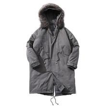 2017  Men's Parkas Cotton Jacket Male Casual Long Slim Fit With Hooded Mens Coats Solid Color Windbreak Jackets Size M-5XL