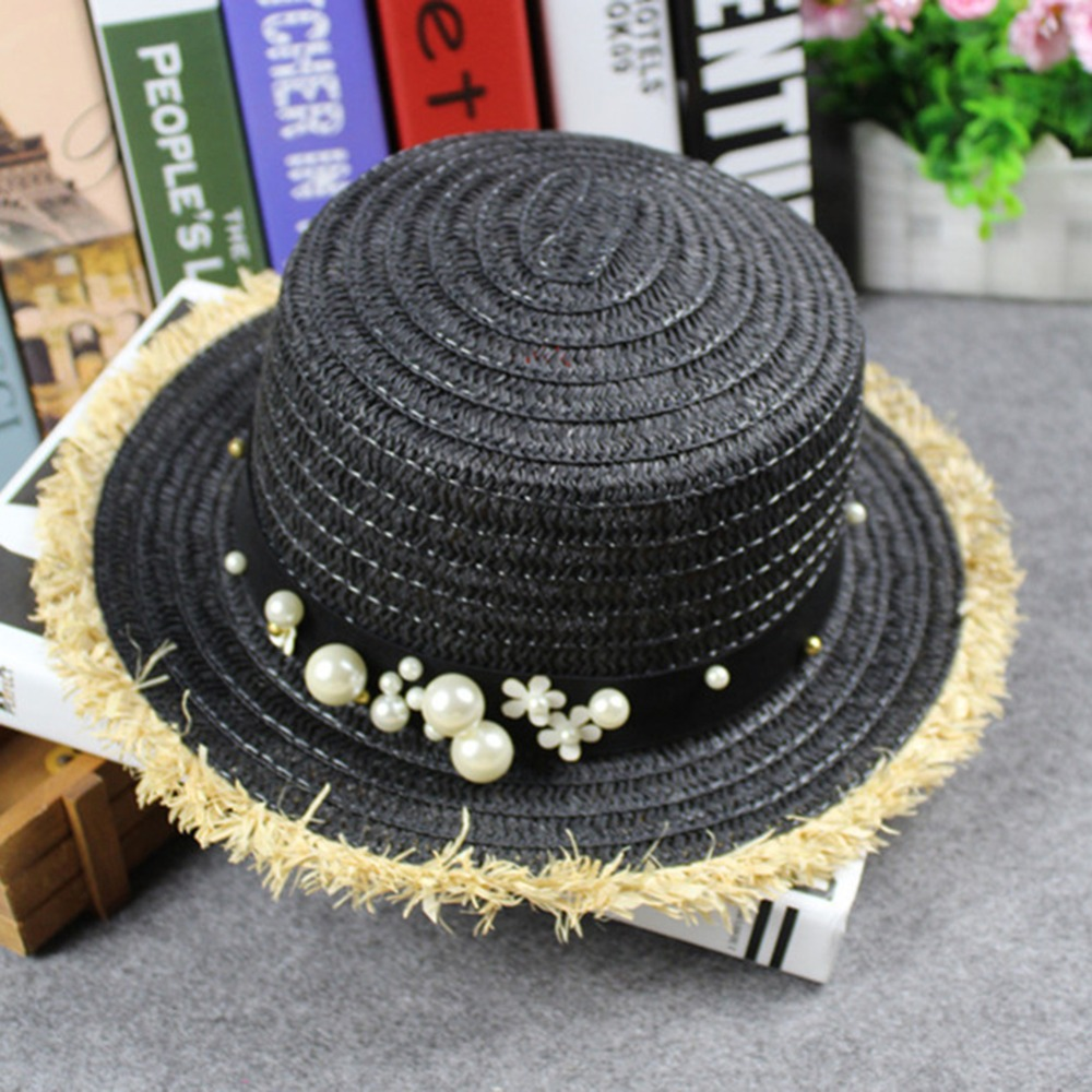 chapeau de paille D'été boucle en cuir Rivet Bordées Bord Plat