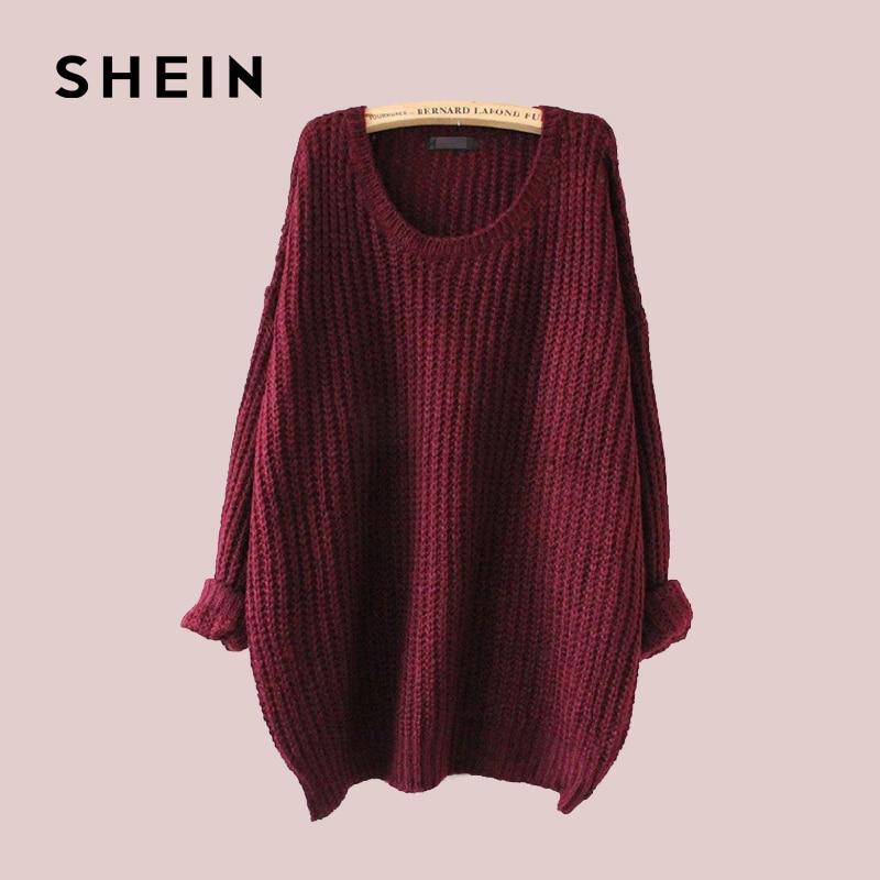 7c64372704 SHEIN Batwing Drop Shoulder Loose Knit Sweater