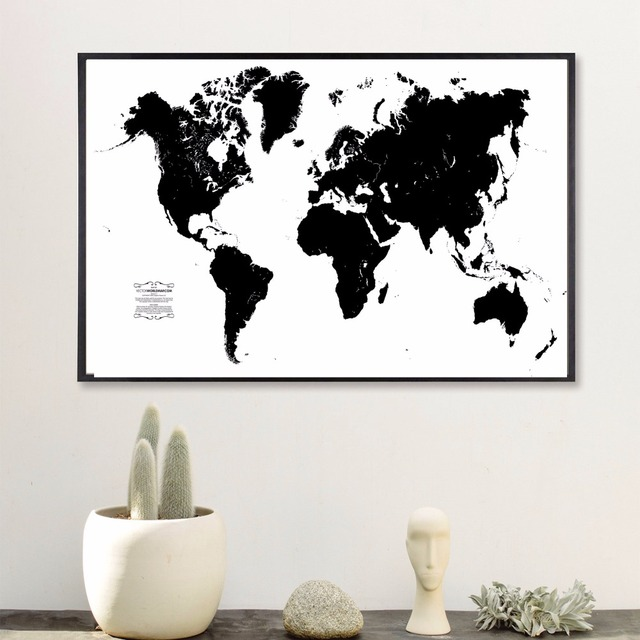 Black and white world map vintage canvas art print painting poster black and white world map vintage canvas art print painting poster wall pictures for room home gumiabroncs Choice Image